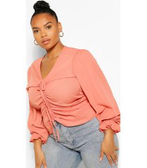 plus ruched plunge puff sleeve blouse, terracotta