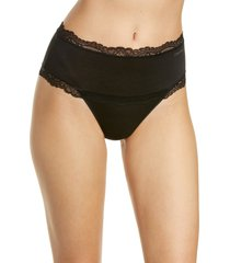 women's calvin klein scallop lace trim high waist thong, size medium - black