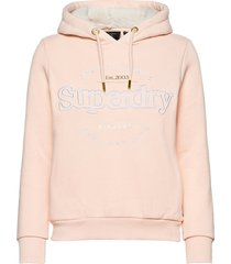 established hood hoodie trui roze superdry
