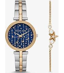 mk set braccialetto con cursore e orologio maci bicolore ispirato alla volta celeste - bicolore (argento) - michael kors