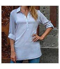 long rayon tunic, 'new blue tiara' (indonesia)