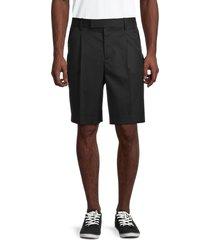 helmut lang men's wool-blend pleated shorts - black - size 28