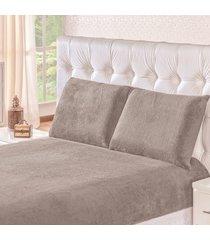 jogo de cama soft cinza casal padrão 03 peças - manta microfibra
