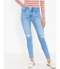 loft destructed high rise skinny jeans in light indigo wash