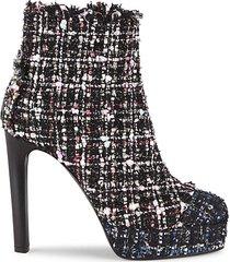 tweed stiletto booties
