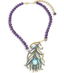 heidi daus women's beaded crystal feather pendant necklace