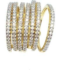 anel kumbayá 7 alianças da felicidade semijoia banho de ouro 18k com zircônia e ródio