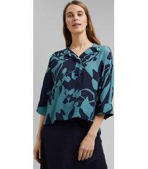 blusa con estampado azul marino esprit