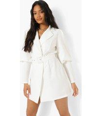 blazer jurk met extreme pofmouwen, white