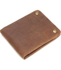 luxuniq retro style genuine leather men short wallet with zipper pocket/id slot