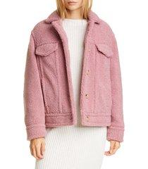 women's vince teddy jacket, size x-large - pink