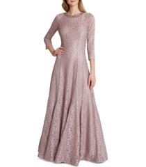 tahari asl three-quarter-sleeve shimmer lace gown