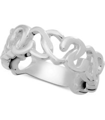 essentials heart openwork link ring in fine silver-plate
