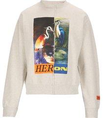 heron preston split light heron sweatshirt