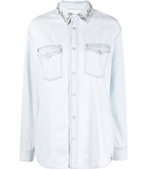 golden goose shirt becca boyfriend bleached/strass embroidery