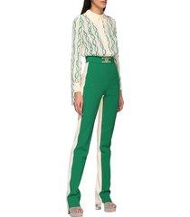 elisabetta franchi jumpsuits two-tone elisabetta franchi suit with chain print