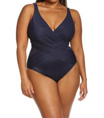 miraclesuit(r) illusionist crossover one-piece swimsuit, size 16 in midnght bu at nordstrom