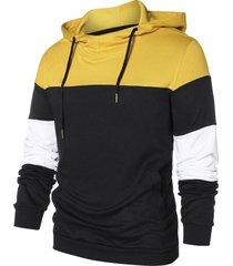 panel long sleeve pullover hoodie
