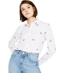 blusa edc bordada 100% algodón blanco esprit