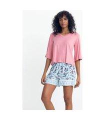 pijama curto em viscolycra com gola v e estampa floral | lov | rosa | gg
