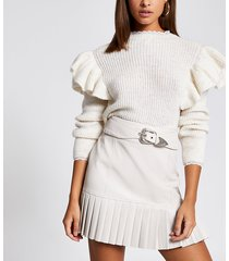 river island womens cream faux leather belted pleated mini skirt