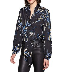 cleone tieneck print blouse