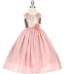 dusty rose sleeveless full length flower girl formal birthday dance party dress