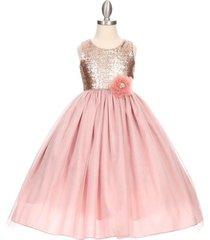 dusty rose sleeveless full length flower girl formal birthday dance party dress