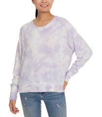 hippie rose juniors' tie-dye cozy drop-shoulder top