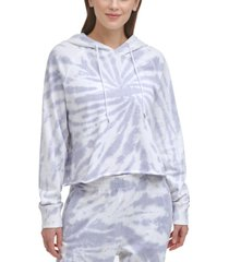 dkny sport women's cotton tie-dyed cropped hoodie