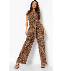 luipaardprint jumpsuit met eén blote schouder en ceintuur, brown