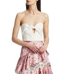 amur women's arianna keyhole strapless cropped top - white - size 4