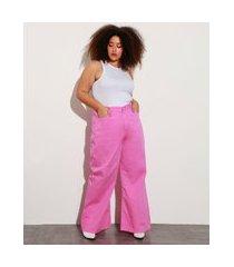 calça wide pantalona de sarja plus size cintura super alta mindset rosa