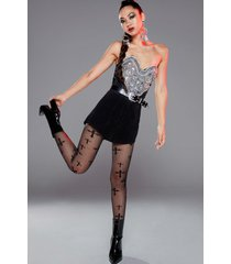 womens cross your heart high-waisted mesh tights - black