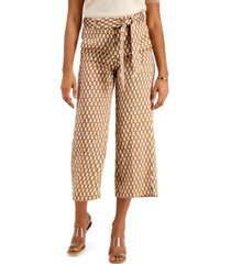 marella camel chain-print cropped pull-on trousers