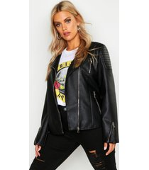 plus leather collarless quilted biker jacket, black