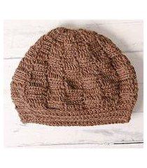 100% alpaca knit hat, 'roasted chestnuts' (peru)