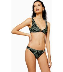 khaki tiger ring trim bikini bottoms - khaki