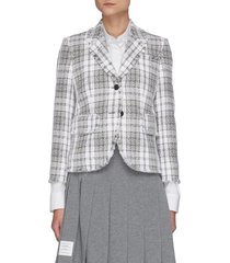 frayed edge tartan check single-breast tweed blazer