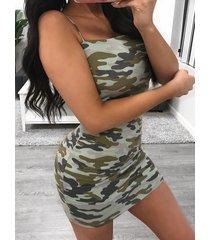 yoins army green spaghetti camo diseño sin espalda mini vestido