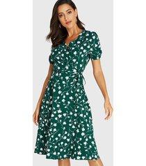 green floral print wrap design v-neck dress