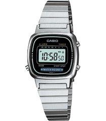 reloj casio retro digital la-670wa-1 plata