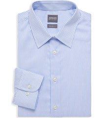 armani collezioni men's modern-fit striped cotton dress shirt - striped blue - size 17 43