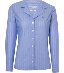 camisa dudalina manga longa tricoline maquinetado gola blazer feminina (listrado, 42)