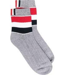 thom browne wide-stripe athletic ankle socks - grey