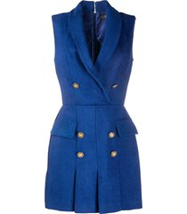 elisabetta franchi pleated tailored dress - blue