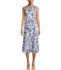 anne klein bow-front printed midi dress