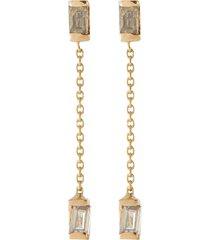 'gravity chain' baguette cut champagne diamond 14k gold drop earrings