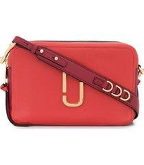 marc jacobs bolsa tiracolo softshot com placa de logo - vermelho