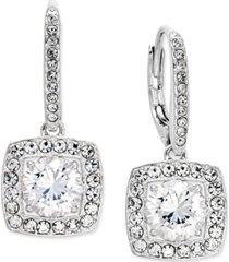 eliot danori silver-tone crystal square drop earrings, created for macy's